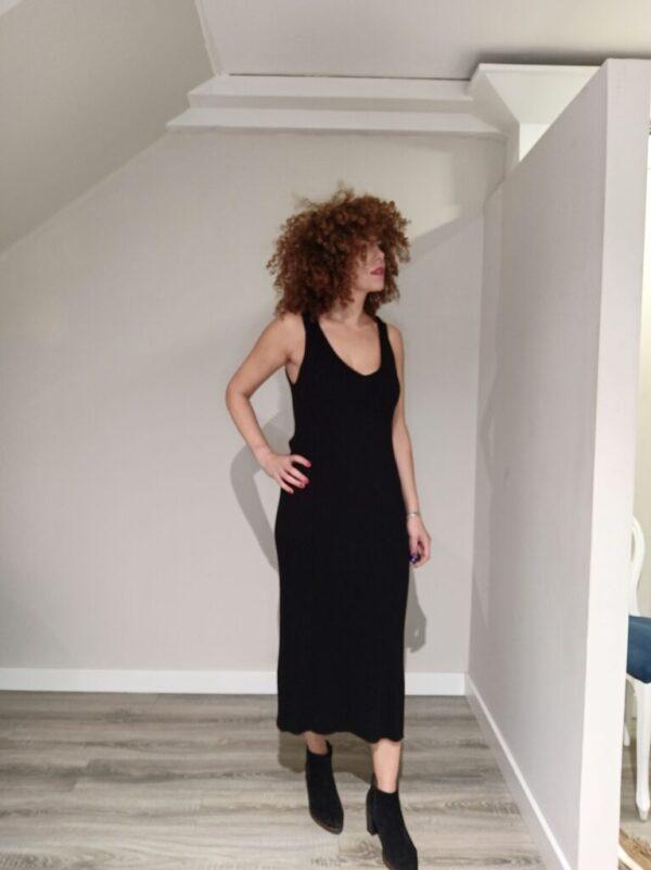 Vestido largo canalé